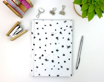 Monochrome notebook, A5 hardback journal with lined pages, stationery, workbook