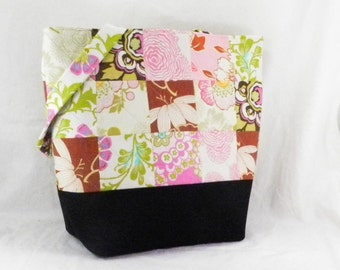 Patchwork Tote, Amy Butler, Lotus Fabric, Quilted Book Bag