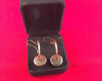 Copper Hoop Earrings on Handmade Copper Ear Wires with Antique Copper Accent Bead 1.75 Inches Long, 1 Inch Wide