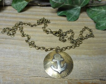 Anchor necklace, Nautical jewelry, Nautical necklace, boating necklace, mixed metal designs, brass necklace, beach jewelry, nickel free