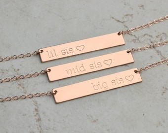 lil sis necklace, big sis necklace, Personalized Bar Necklace, gold bar necklace, little sister gift, lil sis, big sis, big sister
