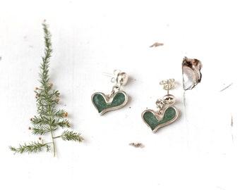 Heart Earrings, Dangle Heart Earrings, Heart Drop Earrings, Green Heart Earrings, Green Dangle Earrings, Heart Jewelry, Drop Heart Studs