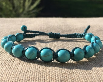 MEN BRACELET, TURQUOISE and teal cotton