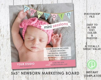 "Newborn Marketing Board Mini Session Photoshop Template 5x5"" - M2N001"