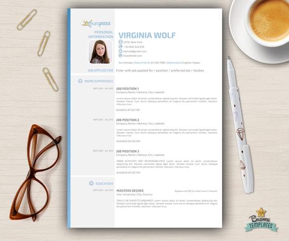 Curriculum Vitae Template Europass Modern CV Design / 3 Page Resume CV / A4  / Official European Format / Creative Resume Desing