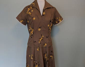 1950s Cotton Novelty Floral Print Toni Todd Dress
