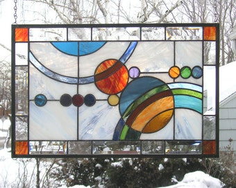 "Stained Glass Window Panel--Galaxy  #1-- 21.5"" x  13.5"""