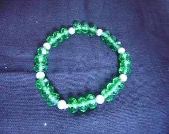 Green Crystal & Sterling Silver Bracelet on elastic