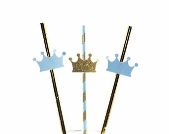 12 Blue and Gold Paper Straws, Crown Straws, Prince, 1st Birthday Party, Boy Baby Shower,  Little Prince, Paper Straws, Crowns