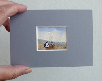 Tiny watercolour, landscape original painting, Ilse Hviid, small painting, little white house, tree, blue sky in soft colors. Mini painting