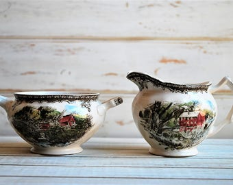 Vintage Creamer and Sugar Set, English Ironstone, Johnson Brothers, Friendly Village, Vintage Ironstone, Vintage Transferware, Transferware