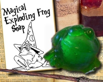 6 EXPLODING FROG soaps with Card Tags Attached - Party Favors, Harry Potter Birthday, Wizard Party