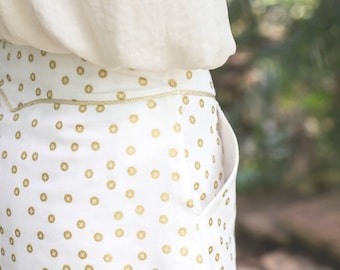 Short skirt 100% cotton white and gold