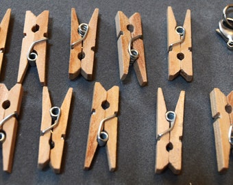 Miniature Wooden Clothespins