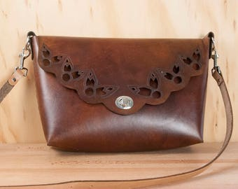Brown Leather Crossbody Bag - Hand-cut Leather lace cutouts in the Petal Pattern with Guitar Strap Purse Strap - Shoulder Bag