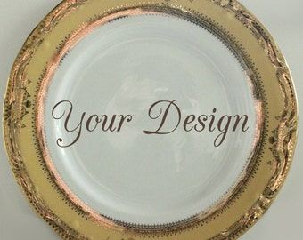 Customizable PlatesGold and Yellow Dinnerware Customizable Dishes Personalized Plates Personalized Dishes & Customized Black and Gold Dishes Personalized Plates