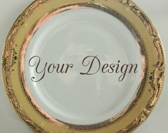 Customizable Plates,Gold and Yellow Dinnerware, Customizable Dishes, Personalized Plates, Personalized Dishes, Bespoke Plates Wedding