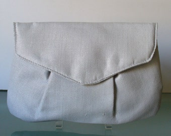 Made in Italy Dove Grey Linen Clutch Bag