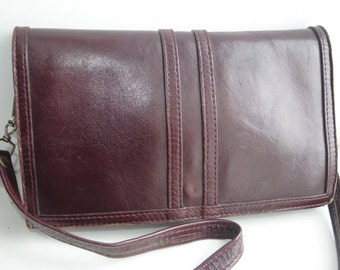 Vintage burgundy red solid genuine leather shoulder bag
