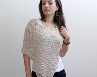 Beige Summer Poncho, Linen and Cotton Poncho, beach cover up, summer wrap, cropped sweater loose knit poncho for women, outdoors gift