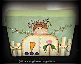 Primitive Garden Angel Wood Shelf Sitter Block-Home Decor Decoration