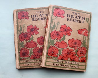 """Set of two vintage """"The Heath Readers"""" books from D.C. Heath & Co. (1903)"""