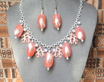 Pearlescent Coral Abalone Shell and Coral Necklace Set