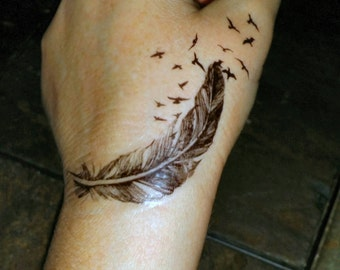 Birds of a feather temporary tattoos fake tattoos birds flying out of a feather tattoo feather tattoos