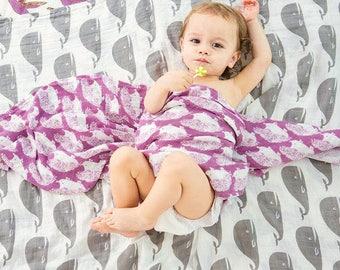 Organic Hedgehog muslin blanket, Organic blanket, Hedgehog muslin blanket, Baby swaddle blanket, Organic baby blanket, stroller blanket,