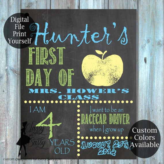 First Day Of School Chalkboard Sign 182