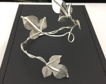 Woodland Leaves Bohemian Upper Arm Bracelet Leaf Cuff 925 Sterling Silver, Leaves Woodland Arm Torc, Woodland Armlet Wedding Accessory