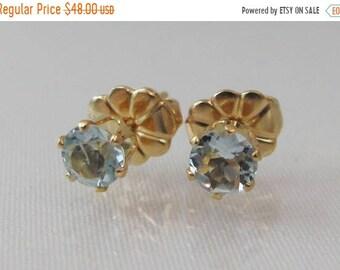 Gold Aquamarine Earrings, Stud Earrings, March Birthstone Gift, Aquamarine Jewelry, 14K Gold Filled, 4mm Natural Aquamarine Gemstones