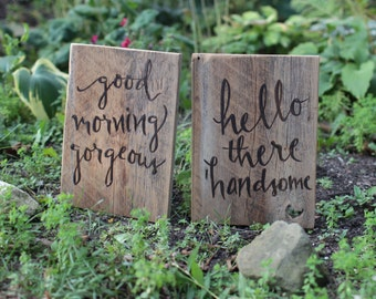 10x14 Barn Wood Signs Set of 2 - Good Morning Gorgeous Hello There Handsome -  Reclaimed Wooden Sign - Wedding Gift - Anniversary Gift