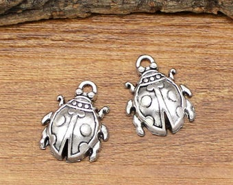 15pcs Antique Silver Ladybug Charms Pendant 22x17mm C1209-Y