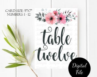1 to 12 Printable Table Numbers, Wedding Table Cards, Wedding Table Numbers, Wedding Signs, Instant Digital Download