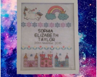 Personalised 'fantasy' 8x10 cross stitch frame