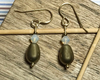 Bicone Drop Earrings Gold Bead Earrings Swarovski Earrings Pearl Drop Earrings Bicone Pearl Dangles Crystal Gold Earrings