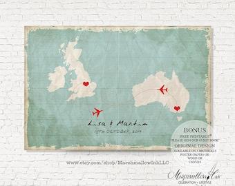 Wedding Map Wedding Signs Wedding Guest Book Map Wedding Guest Book Alternative Wedding Gift Travel Wedding Destination Wedding Guestbook