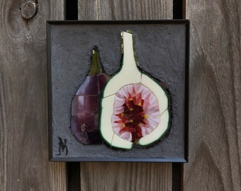 Fig mosaic, stained glass mosaic wall art, fig fruit art