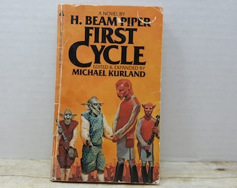 First Cycle, 1983, H. Beam Piper, Michael Kurland, Vintage Sci fi, cover art