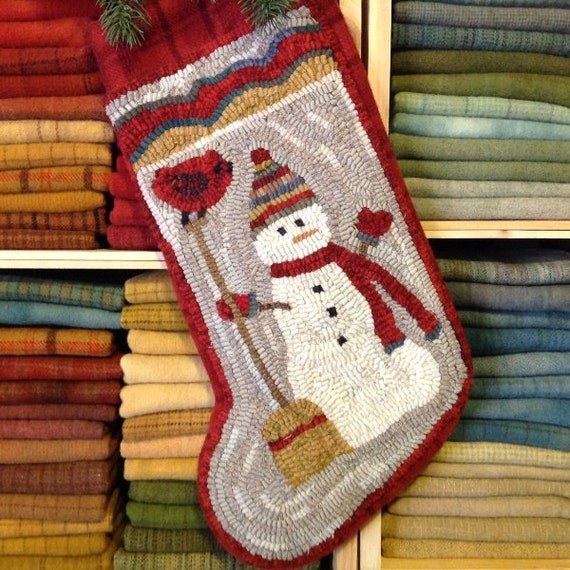 Rug Hooking PATTERN, Snowman and Broom  Stocking, J977, DIY Christmas Stocking, Primitive Rug Design