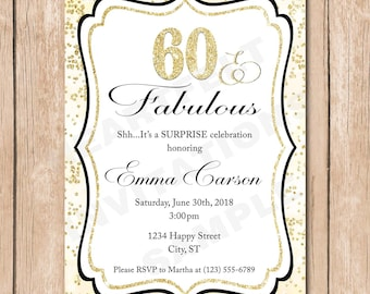 Adult Birthday Invitation | Sixty and Fabulous, Fifty, Forty, Any Age, Glitter
