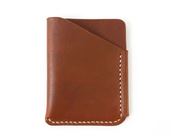 Leather Card Wallet in Brown with Natural Thread