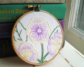 Embroidered Pansy Flowers Hoop Art / Wall Hanging - Floral Embroidery Textile / Fiber Art - Vintage Purple & Yellow Pansies Gift for Her