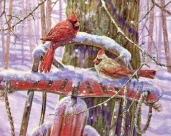 Red Bird Cardinals Snow Sled Graphic Image Art Fabric Block Doodaba