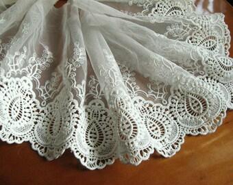off white lace trim, embroidered lace, retro lace, scalloped trim lace, cotton lace fabric