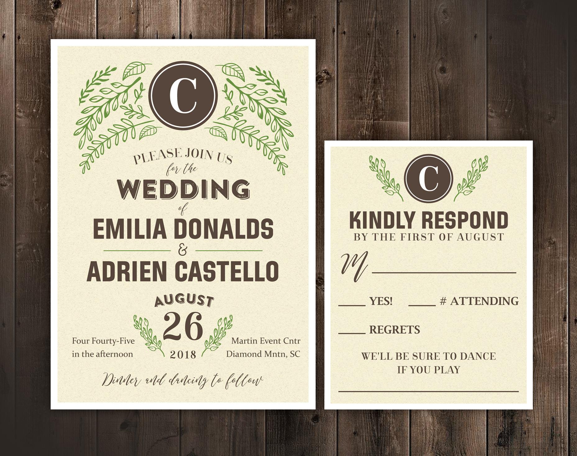 Rustic Wedding Invitation Set Monogram Wedding Invitations
