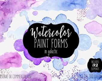 WATERCOLOR PAINT TEXTURES Clipart Commercial Use Clip Art 32 Watercolor Paint Wash Background Edges Purple Confetti Splash Logo Graphics