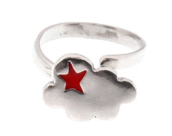 Ring adjustable silver cloud Sterling and Red resin