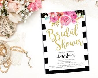 Elegant Black and White Cursive Bridal Shower, Bridal Brunch Invitation, 5x7